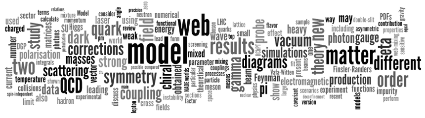 Particle Physics Tag Cloud,           based on the arXiv/hep-ph listing from Jan 31, 2013;           generated at http://www.wordle.net